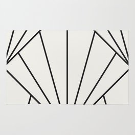 Diamond Series Sun Burst Charcoal on White Rug