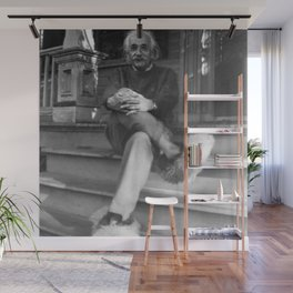 Albert Einstein in Fuzzy Slippers Classic Black and White Satirical Photography - Photographs Wall Mural