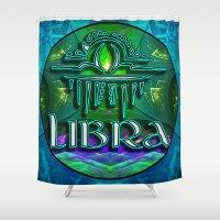 astrology Shower Curtains featuring Libra Zodiac Sign Astrology by CAP Artwork & Design