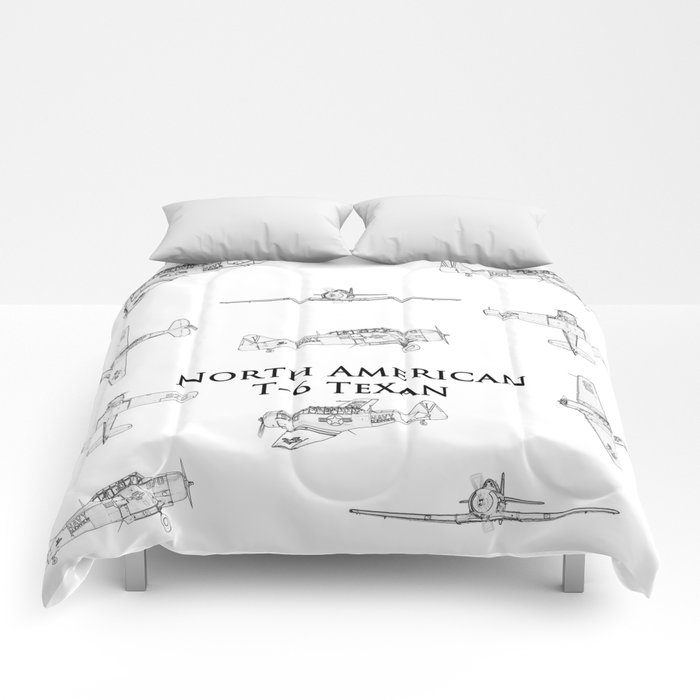 North American T-6 Texan Blueprint Style Artwork Comforters