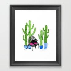 Cactus Cat Framed Art Print