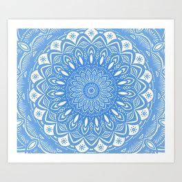 Light Blue Cobalt Mandala Simple Minimal Minimalistic Art Print