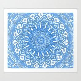 Light Blue Cobalt Mandala Simple Minimal Minimalistic Art Print