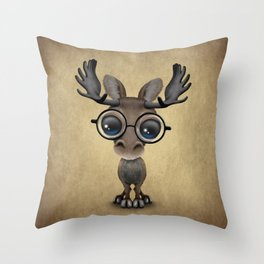Cute Curious Baby Moose Nerd Wearing Glasses Throw Pillow