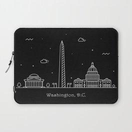 Washington D.C. Minimal Nightscape / Skyline Drawing Laptop Sleeve