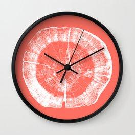 Tree Rings - Living Coral Wall Clock