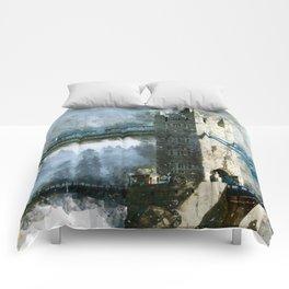 Watercolor Tower Bridge Comforters
