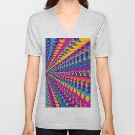 blue pink purple green orange yellow geometric graffiti painting abstract background Unisex V-Neck