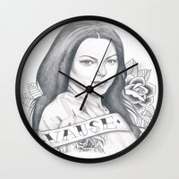 alex vause Wall Clocks featuring Alex Vause by Melina Espinoza