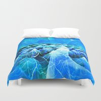 data Duvet Covers featuring Data Sea (blue) by NatalieCatLee