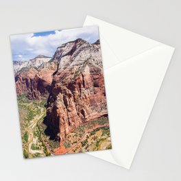 Angel's Landing | Nature Landscape Photography on Top of Red Rocky Mountain in Zion Utah Stationery Cards