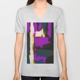 white pink and blue painting texture abstract with black background Unisex V-Neck