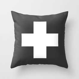 Swiss Cross Charcoal Throw Pillow