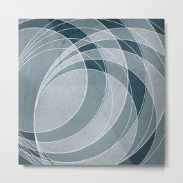 Orbiting Circle Design in Aqua  Metal Print