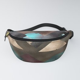 Bronze Brown Blue Burgundy Metal Abstract Mountains Fanny Pack