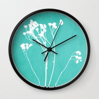 decal Wall Clocks featuring Abstract Flowers 1 by Mareike Böhmer