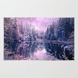 Pink Lavender Winter Wonderland : A Cold Winter's Night Rug