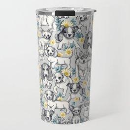 Dogs and Daisies on Grey Travel Mug