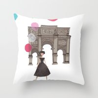 balloons Throw Pillows featuring Balloons by Emma Block