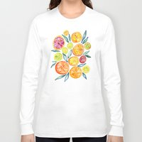 kitchen Long Sleeve T-shirts featuring Sliced Citrus Watercolor by Cat Coquillette