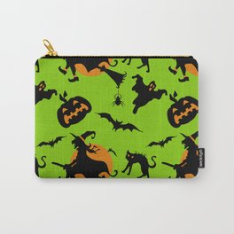 Neon green black orange halloween pumpkins cat witches pattern Carry-All Pouch