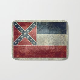 Mississippi State Flag - Distressed version Bath Mat