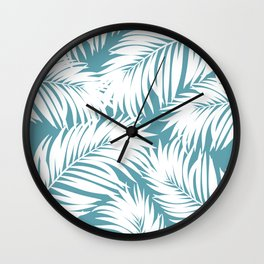Palm Tree Fronds White on Soft Blue Hawaii Tropical Décor Wall Clock