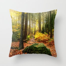Path Through The Trees - Landscape Nature Photography Throw Pillow