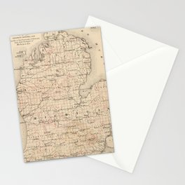 Vintage Map of Michigan (1873) 2 Stationery Cards