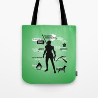dragon age Tote Bags featuring Dragon Age - Fenris by firlachiel