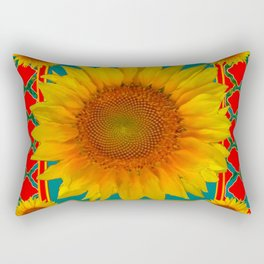 DECORATIVE RED-TEAL  DECO YELLOW SUNFLOWERS Rectangular Pillow