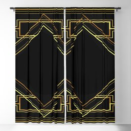art deco gatsby black and gold lines geometric pattern Blackout Curtain
