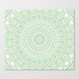Pale Green Mandala Detailed Textured Minimal Minimalistic Canvas Print