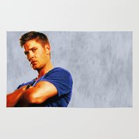 dean winchester Area & Throw Rugs featuring Dean Winchester / Supernatural - Painting Style by ElvisTR
