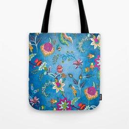 Blue Lapis Velvet Texture Chintz Multicolour Bohemian Floral Pattern Tote Bag