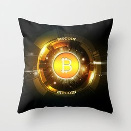 Bitcoin block chain Throw Pillow