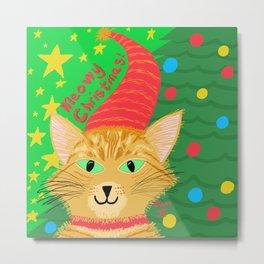 Christmas Cat Long hair Orange Tabby Green Eyes Metal Print