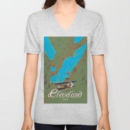 Cleveland,Ohio Travel poster art print Unisex V-Neck