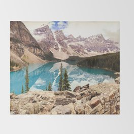 Moraine Lake III Banff Summer Mountain Reflection Throw Blanket
