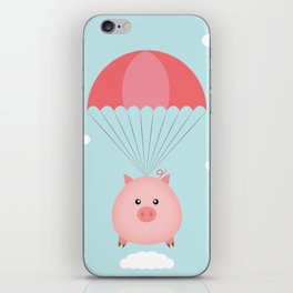 Baby Pig in a Parachute iPhone Skin