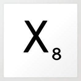 Letter X - Custom Scrabble Letter Tile Art - Scrabble X Initial Art Print