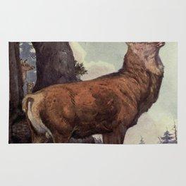 Vintage Red Deer Painting (1909) Rug
