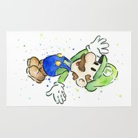 luigi Area & Throw Rugs featuring Luigi Watercolor Art by Olechka