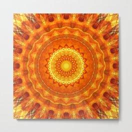 Mandala orange light Metal Print