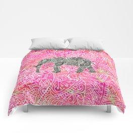 Pink Safari | Tribal Paisley Elephant Henna Pattern Comforters