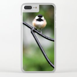 Fluffy Chickadee Clear iPhone Case