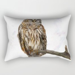 Digital Painting of  Barred Owl perching Rectangular Pillow