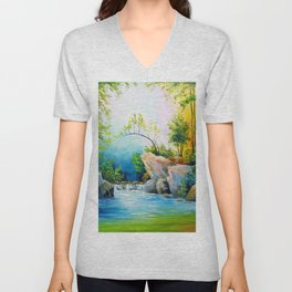 Waterfall in the forest Unisex V-Neck