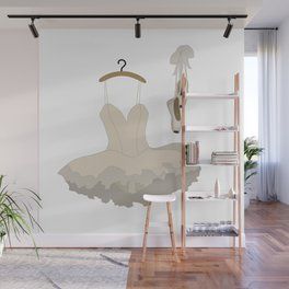 Ballerina dress and pointe shoes pattern Wall Mural
