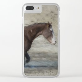 Mustang Getting Out of a Muddy Waterhole the Slow Way painterly Clear iPhone Case